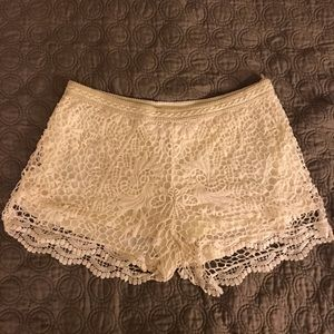 Off white crochet shorts